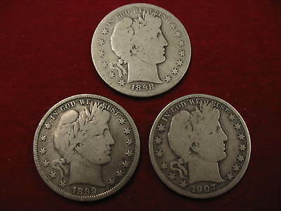 Lot of 3 Silver Barber Half Dollars 1898-S,1899-P,1907-D, Circulated No Reserve