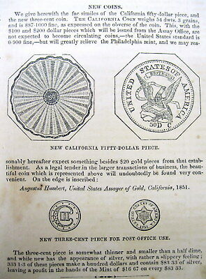 1851 illustrated newspaper NUMISMATICS 1st view 3 cent silver coin & CA $50 gold