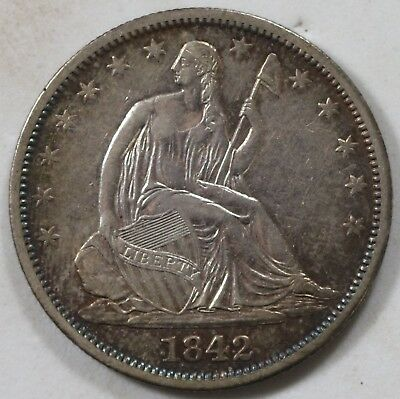 1842 Seated Half Dollar Extremely Nice Details Great Look