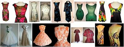 Vintage 50's DRESS LOT Chiffon ROSES Beaded Formal Couture Party Dresses 10 Pc