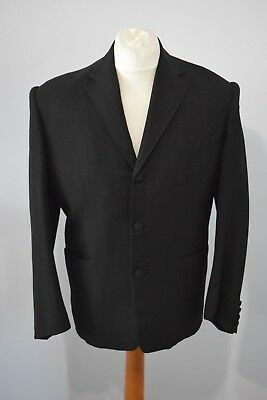 VINTAGE 1950s MENS BLACK PINSTRIPE SUIT HIGH WAISTED TROUSERS TURN UPS