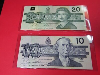 Lot of Old Canadian Currency - 1991 $20 Note & 1989 $10 Note - $30 Face Value