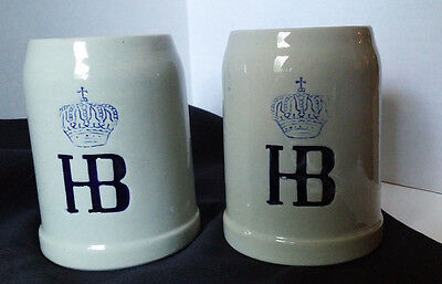 2 HB HOFBRAUHAUS  0.5 L German Beer Steins Glazed