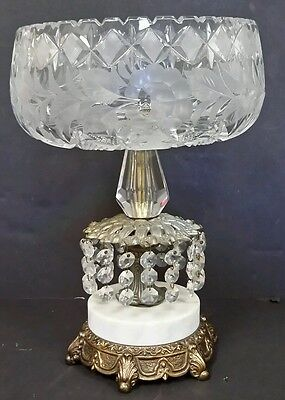 Ornate Cut Crystal Compote Center Piece Bowl Gilt Stand Marble Crystals Vintage