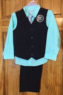 NWT George Boy's Size 4t 4pc Black and light green Special Occasion Suit
