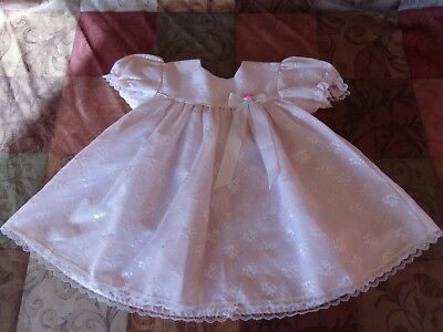 Rose Cottage Pink Dress with lace trim, Rose and Ribbon on front, Size 18 months