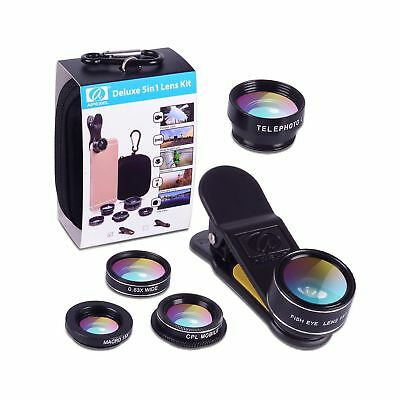 Apexel 5 in 1 HD Camera Lens Kit 198Fisheye Lens/0.63x Wide Angle/15x Macro L...