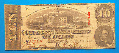 Ten Dollar 1863 Confederate Currency Type 59