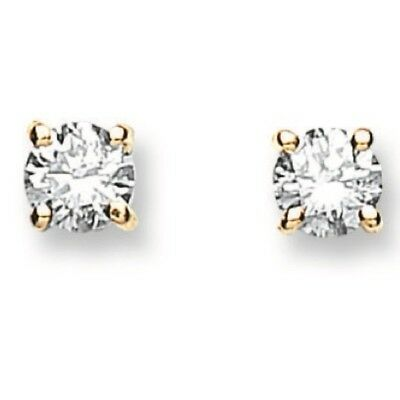 9ct Gold 0.25ct Diamond Solitaire Ear Studs With 9ct gold butterfly backs In Box