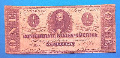 $1 One Dollar 1863 Confederate Currency Type 62