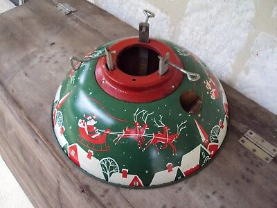❤Antique Metal Tree Stand❤Old Christmas Litho  Vintage Tin ❤Santa Claus Reindeer