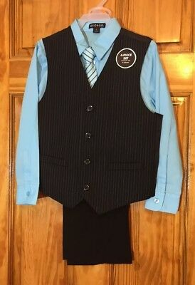 NWT George Boy's  4pc Suit Special Occasion Dress Set Pinstripe Blue