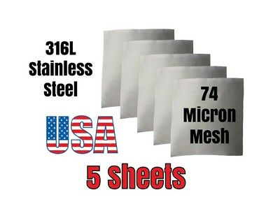"""5 Pack 4"""" sheets 74 micron 316L Stainless Steel kief sieve filter press screen"""