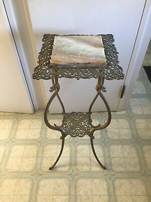 Victorian Iron Stand. Onyx top