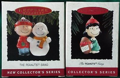 Hallmark 1993/1994 THE PEANUTS GANG Ornament lot of 2 Charlie Brown & Lucy New