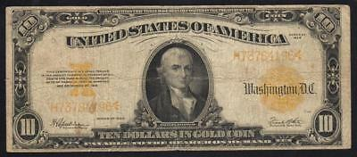 1922 $10 Gold Certificate Note, Fr 1173 Large size currency  H73784196