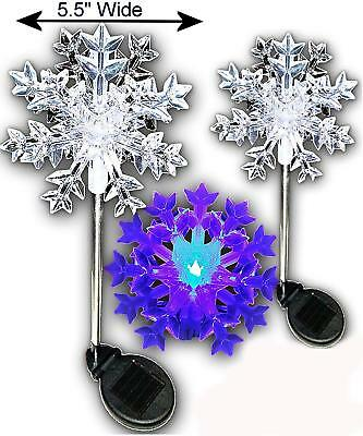 Set Of 2/4/6/8 Garden Snowflakes 3D Solar Stake Color Change Light For Christmas