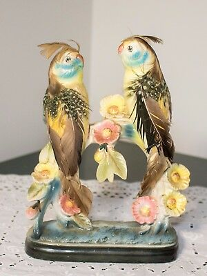 vintage ceramic LOVE BIRDS figure COCKATOOS parrots real feathers added