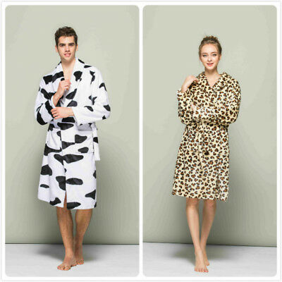 Luxury Cow Leopard Women Men Thermal Coral Fleece Dressing Gowns Soft Bath Robes