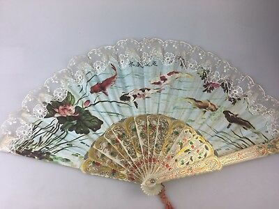 Hand Fan - Beautiful Design - Chinese Or Japanese??  - Lace Trim