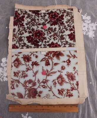 Antique French Sample Page~6 Swatches Of Chintz Fabric~2 Sides c1850-1870