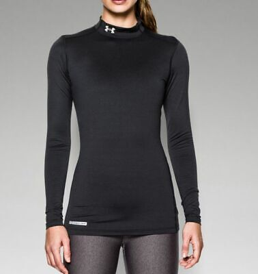 Under Armour Women's ColdGear Fitted Long Sleeve Mock Shirt 1215968-001 Black