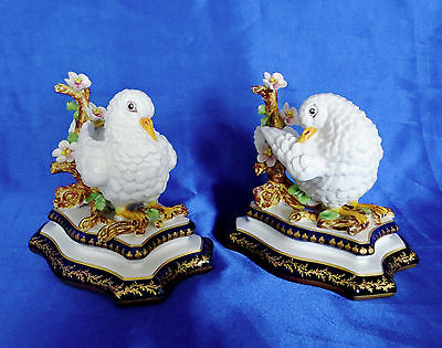 Reduced $50 to $149: Exquisite Pair of French Porcelain Doves with Sevres Marks