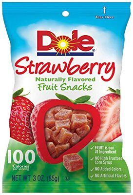 Dole Naturally Flavored Fruit Snacks, Strawberry,  3 Ounce Bag, Pack of 8