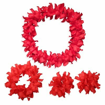 Hawaiian Flowers Leis Necklace Headband Bracelets Set for Tropical Luau Party De