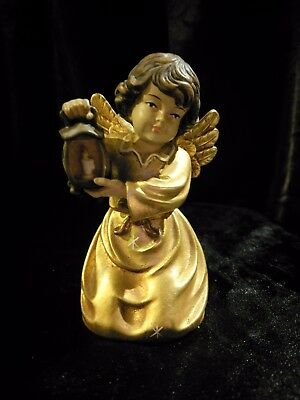 Bell Angel Holding Lantern, Hand Carved Painted Figurine Statue 5""