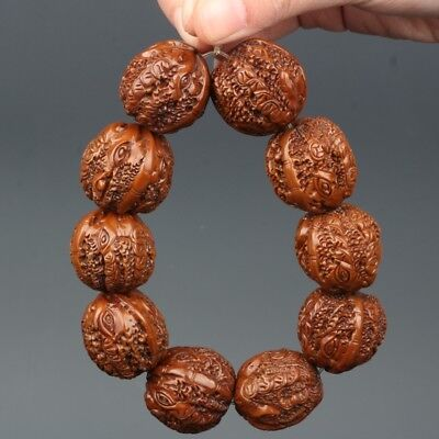 Chinese Exquisite Hand-carved Coins carving walnut bracelets