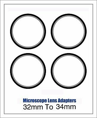 Microscope Lens Adapter 32mm To 34mm – Set Of Four
