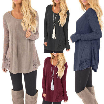 Women's Long Sleeve Sweater O-Neck Lace Patchwork Casual Loose Sweater Plus Size