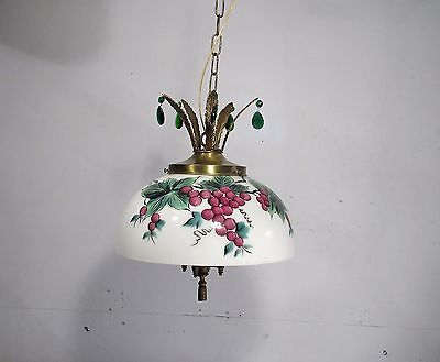 Antique Vintage Chandelier Glass Painted Shade Pendant Bronze Lights Crystals