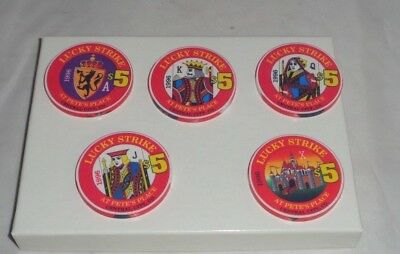 Lot of 5 LUCKY STRIKE AT PETE'S PLACE $5 CHIPS Royal Flush Central City Colorado