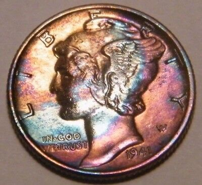 1941 P Mercury Dime Rainbow Toning Toned 90% Silver US Coin N221