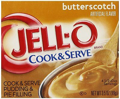 Jell-O Cook and Serve Pudding and Pie Filling, Butterscotch, 3.5-Ounce Boxes of