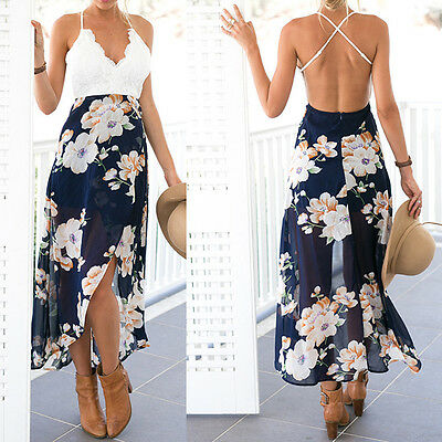Women Summer Boho Lace Long Maxi Dress Evening Party Cocktail Beach Sundress*