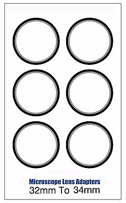 Microscope Lens Adapter 32mm To 34mm – Set Of Six