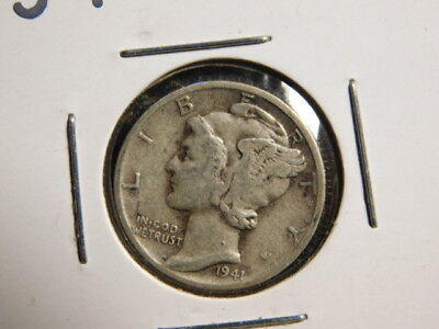 1941-D   Mercury Dime  VERY FINE     SILVER    FREE SHIP