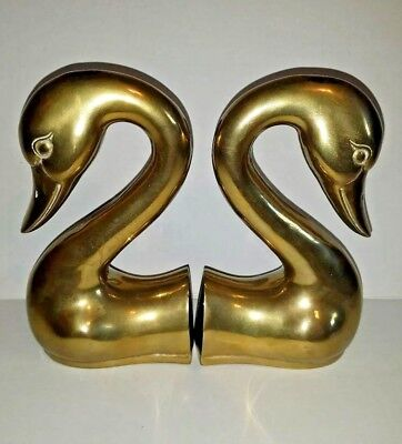 Vintage Brass Swan Head and Neck Bookends