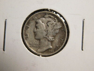 1941-S   Mercury Dime     VERY GOOD     SILVER    FREE SHIP