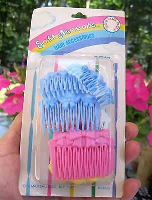 Vtg Nos 24 Almar Combs In Package 1987 Girls Pink, Yellow, Blue, Orange, Green,