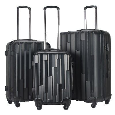 GLOBALWAY 3Pcs Luggage Travel Set ABS Trolley Suitcase Spinner Lightweight Black