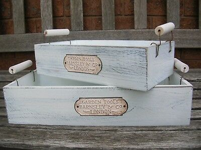 Set Of 2 Shabby Country Distressed White Wooden Tray