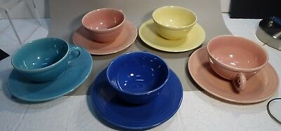 zgl-bx LOT OF 5 solid color VERNON WARE CUP AND SAUCER SETS, VINTAGE
