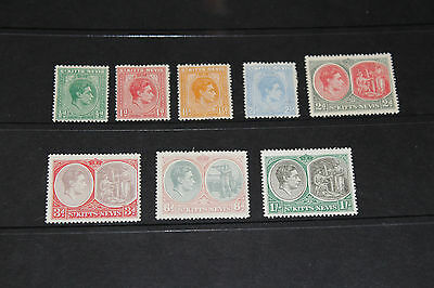 St.kitts Nevis 1938 Kg S/set Of 8 To 1/- Fine Mint  M//h,,