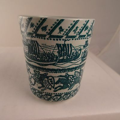 Nymolle Art Faience Cup Hoyrup Denmark Limited Edition Viking Horses Green