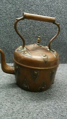Unique antique vintage Arts and Crafts handmade large copper  teapot signed