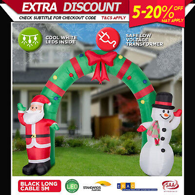 New 2.4m Inflatable Santa Wave LED Christmas Lights Outdoor Airpower Xmas Decor